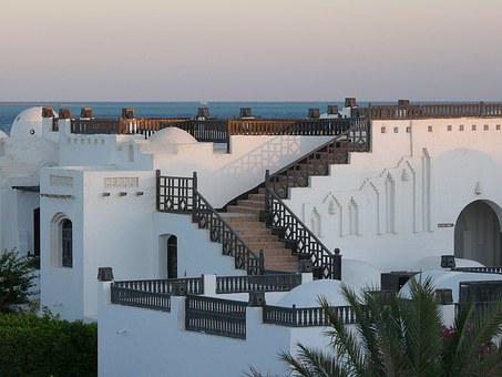 Hughada, Egypt, Hotel Complex, Sunset