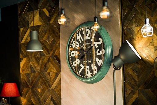 Clock, Decoration, Restaurant, Glitter, Table, Design