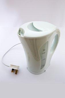 Electric Kettle, Plastic, White, Utensil, Teakettle
