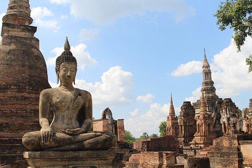 Thailand, Buddha, Asia, Buddhism, Stone, Statue, Grey