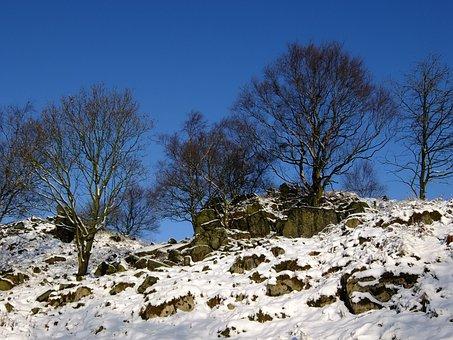 Winter, Snow, Rocks, Trees, Hill, Moor, Warren Hills