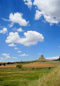 Rocky Outcrop, Veld, Green, Grass, Sky, Loose Clouds