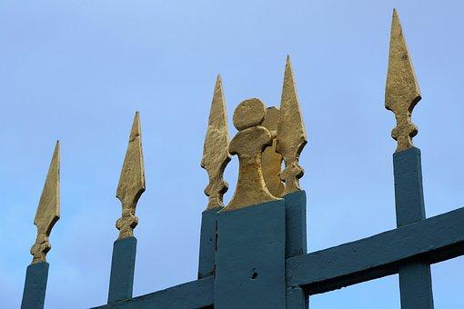 Fence, Castle, Wilhelmsthal, Calden, Pointed, Gold