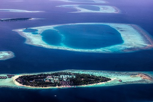 Maldives, Atoll From Above, Seascape, Atolls, Lagoon