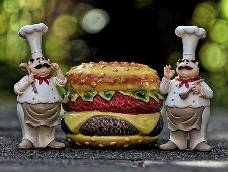 Chefs, Figures, Cheeseburger, Hamburger, Funny, Cook