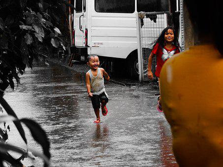 Kids, Rain, Child, Boy, Wet, Weather, Street, Baby