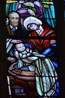 Stained Glass, Window, Church, Baptism, Theresa, Baby