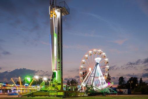 Lunapark, Amusement Park, Evening, Sunset, Colors
