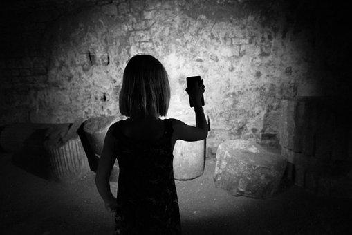 Explore, Light, Cave, Girl, Roman, Exploration, Dark