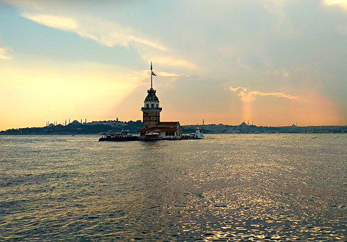 Maiden Tower, Istanbul, Turkey, Landscape, Sunset