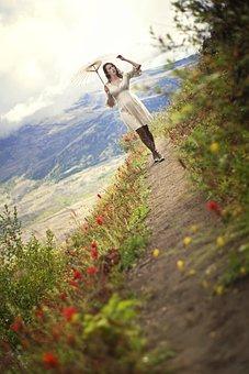 Girl, Woman, Umbrella, Mountain, Mountain Trail, Happy