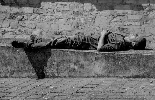 Stage-of-life, Man, Nap, Rest, City, Black-and-white