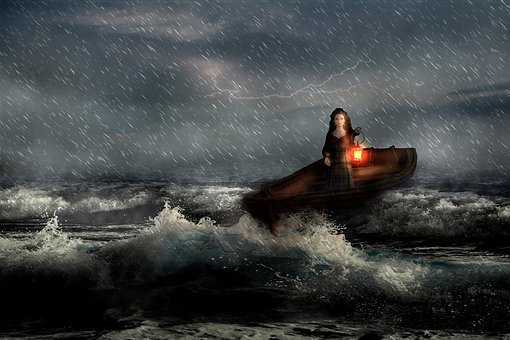 Storm, Sea, Lady, Lantern, Fantasy, Ocean, Weather, Sky