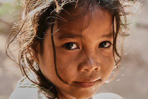 Young Girl, Girl, Child, Cambodia, Arm, View, Portrait