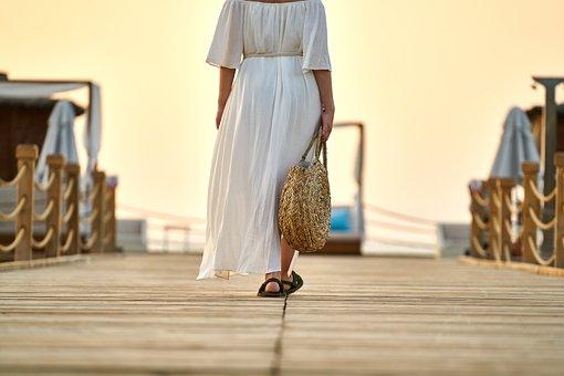 Woman, Romantic, Walk, Go, Clothes, Fashion, Dress, Bag