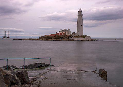 Lighthouse, St Mary's Lighthouse, Whitley Bay, Seaside