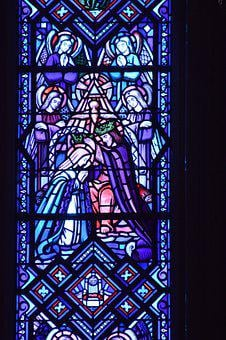 Stained Glass, Colorful, Blue, Window, Church