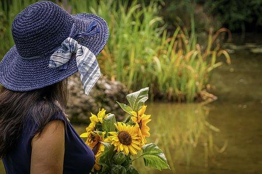 Woman, Lady, Strauss, Sun Flowers, Sunflower, Hair