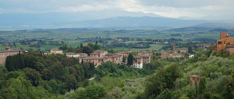 Siena, Landscape, Tuscany, Green, Sky, Countryside