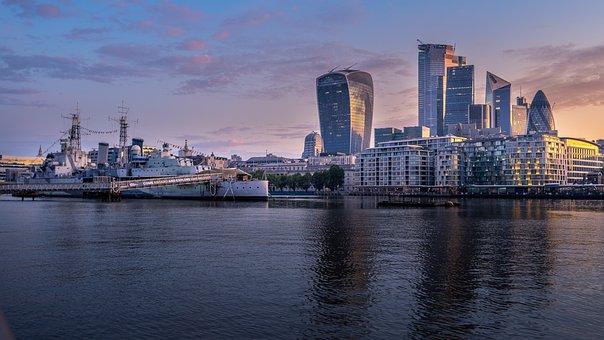 London, Thames, River, Boat, Uk, Sunrise