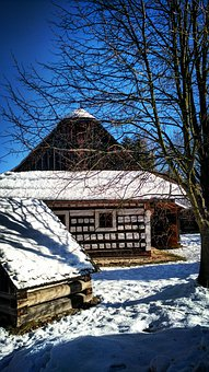 Slovakia, Unesco, čičmany, Winter, House, Country, Tree
