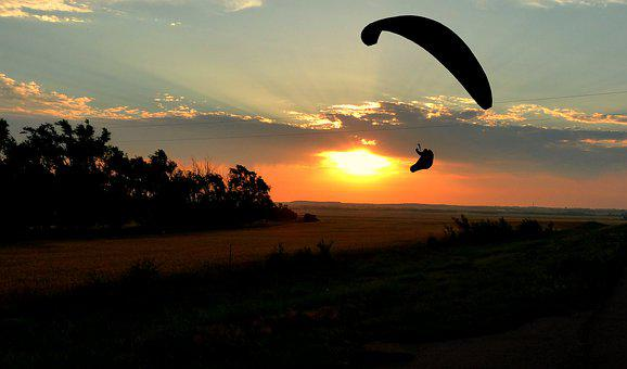 Sunset, Paragliding, Sky, Parachute, Adventure, Freedom