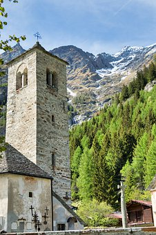 Church, Alps, Architecture, Mountains, Houses