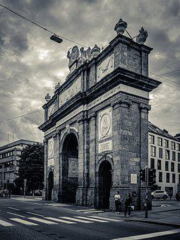 Triumphal Arch, Tyrol, Innsbruck, Austria, Black White