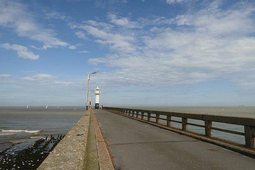 Pier, Sea, Water, Scaffolding, Beach, Port, Clouds