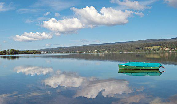Lake, Boat, Clouds, Water, Landscape, Blue, Rest