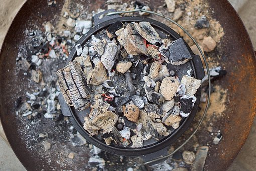 Dutch Oven, Fire Pot, Cook, Cast Iron, Charcoal, Embers