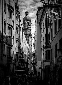 City Tower, Alley, Tyrol, Innsbruck, Austria