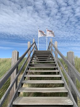 Stairs, Beach, Domburg, Coast, Dunes, Sand, Summer