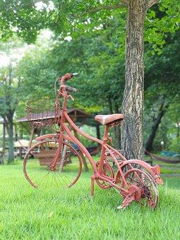 Bike, Grass, Nature, Garden, Summer, Green, Wood