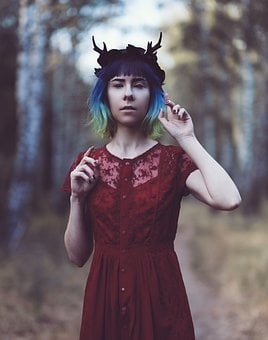 Woman, Horns, Forest, Fantasy, Halloween, Wicca, Girl