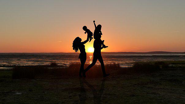 Sunset, Couple, Child, Romance, Romantic, Set, Human
