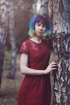 Tree, Girl, Nature, Colorful Hair, Ombre