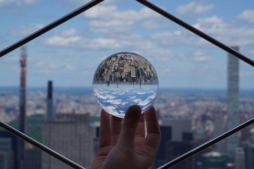 Skyscrapers, New York, Lens Ball, Manhattan, Reflection