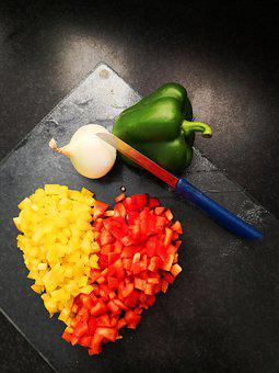 Paprika, Yellow, Red, Vegetables, Heart