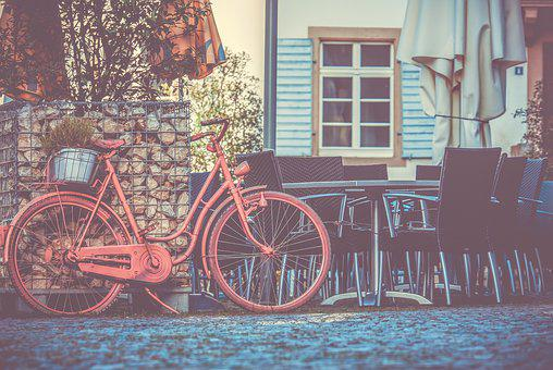 Bike, Pink Bike, Old Bicycle, Decoration, Street Cafe