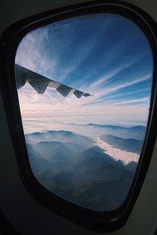 Plane, Mountain, Wing, Airplane, Mountains, Travel, Sky