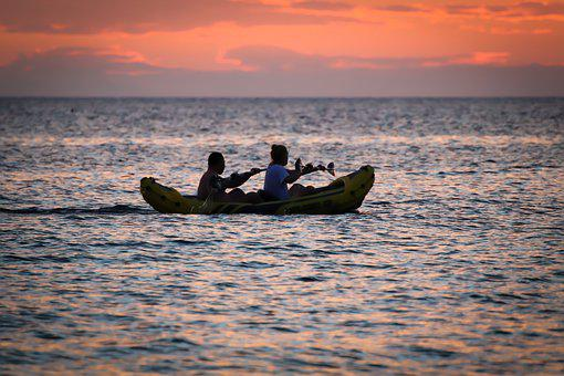 Sunset, Sea, Clouds, Canoeing, Water Sports, Boat, Dusk