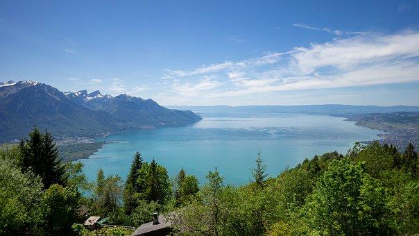 Panorama, Lake, Nature, Switzerland, Sky, Clouds