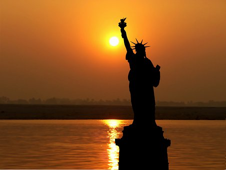 Sunset, America, New York, Statue Liberty, Sky