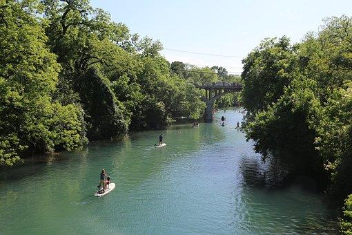 Bridge, Lake, Tree, Boat, Park, River