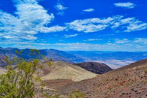 Usa, Death Valley, Desert, Karg, Sky, Clouds, Blue