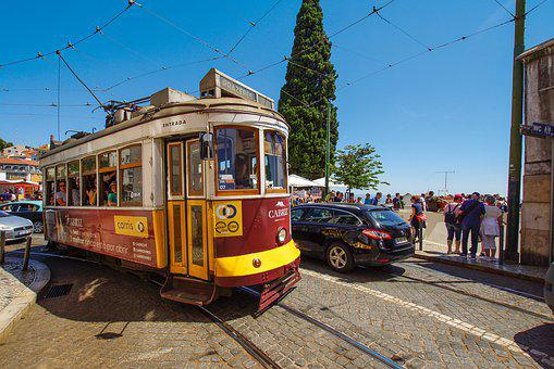 Lisbon, Tram, Blue, Portugal, Historic Center