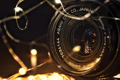 Camera, Lens, Pentax, Lights, Focus, Fire