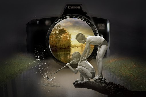 Manipulation, Camera, Lens, Autumn, Fishing, Fish, Boys
