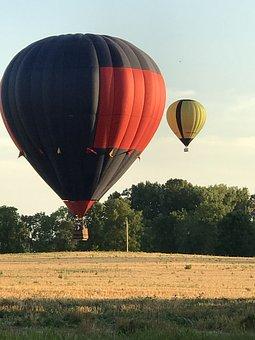 Hot Air Balloon, Wheat Field, Flying, Summer, Golden